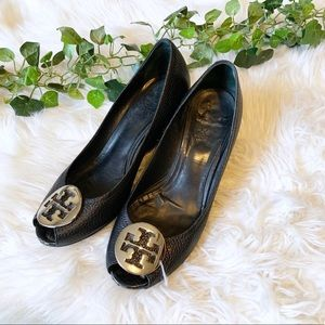 Tory Burch Sally 2 Wedge Pump Silver Logo Front